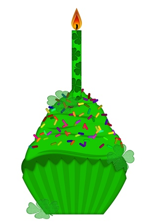 St Patricks Day Cupcake with Colorful Chocolate Chip Sprinkles and Candle Isolated on White Background photo