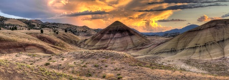Sunset Over Painted Hills Landscape in Central Oregon Panorama photo