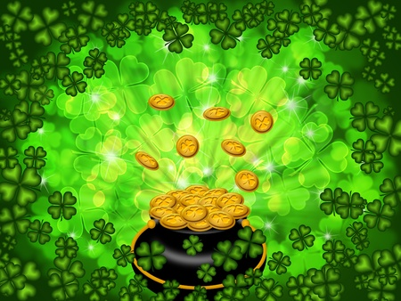 St Patricks Day Pot of Gold on Four Leaf Clover Shamrock with Blurred Background photo