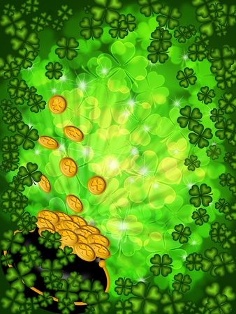 St Patricks Day Pot of Gold on Four Leaf Clover Shamrock with Blurred Background Vertical photo