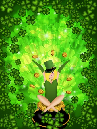 St Patricks Day Girl Leprechaun on Four Leaf Clover Shamrock with Blurred Background