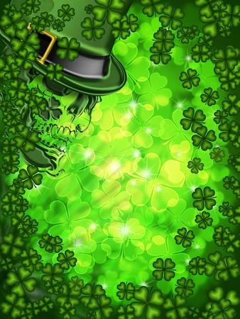 St Patricks Day Leprechaun Skull on Four Leaf Clover Shamrock with Blurred Background Vertical photo