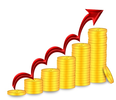 going up: Stacks of Gold Coins Bullion  with Red Arrow Depicting Price Value Going Up Illustration