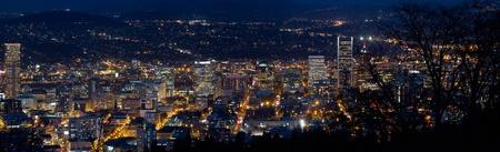 Portland Oregon Downtown Cityscape at Blue Hour Twilight Panorama