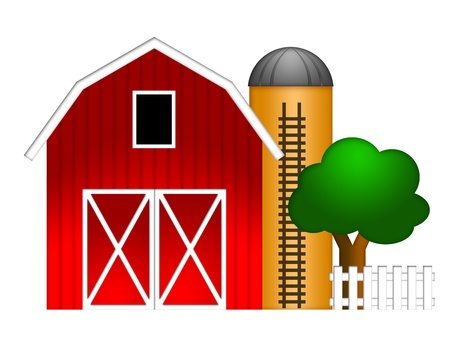 farm structures: Red Barn with Grain Elevator Silo and Tree Illustration Isolated on White Background