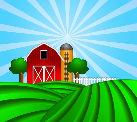 Red Barn with Grain Elevator Silo and Trees with Green Crop Pastures Illustration Imagens