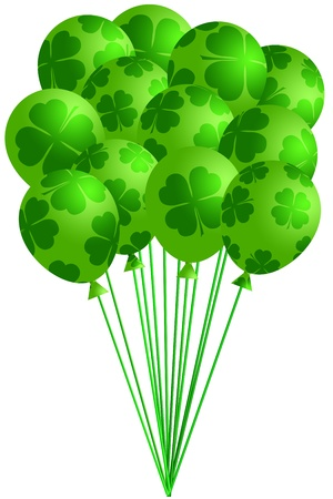 St Patricks Day Bunch of Irish Green Balloons with Shamrocks Four Leaf Clover Illustration illustration