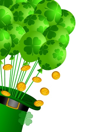 patricks: St Patricks Day Leprechaun Hat with Shamrock Balloons and Gold Coins Illustration Stock Photo