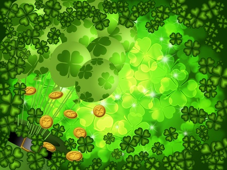 St Patricks Day Four Leaf Clover Shamrock with Leprechaun Hat and Balloons on Blurred Background Illustration illustration