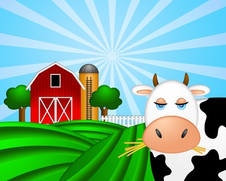 red barn: Cow on Green Pasture with Red Barn with Grain Elevator Silo and Trees Illustration