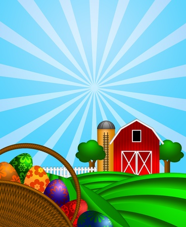 Happy Easter Day Eggs Basket with Red Barn Grain Elevator Silo and Trees on Green Pastures Illustration illustration