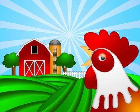 Rooster on Green Pasture with Red Barn with Grain Elevator Silo and Trees Illustration illustration