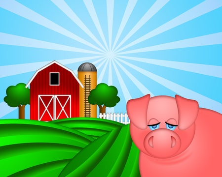 rural scene: Pig on Green Pasture with Red Barn with Grain Elevator Silo and Trees Illustration Stock Photo