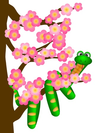 year of snake: Chinese New Year Green Snake on Cherry Blossom Flowering Tree in Spring Illustration