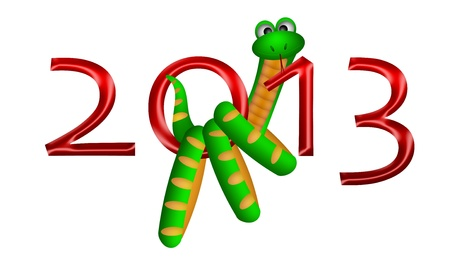 2013 Lunar Chinese New Year of the Snake Illustration Isolated on White Background Stock Illustration - 12683496