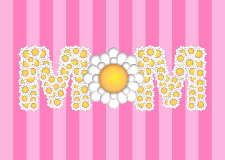 Happy Mothers Day with Daisy Flower Pattern on Pink Stripes Background Illustration