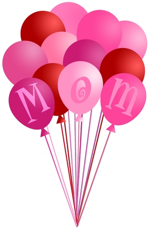 Mothers Day Mom Alphabet Pink and Red Balloons Isolated on White Background Illustration