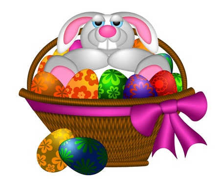 Cute Happy Easter Bunny Rabbit Laying Inside Basket of Colorful FLoral Pattern Eggs Illustration Isolated on White Background Stock Illustration - 12683501