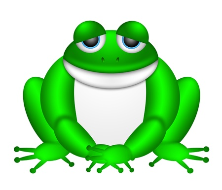 bullfrog: Cute Green Frog Sitting Illustration Isolated on White Background Stock Photo