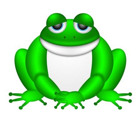 bullfrog: Cute Green Frog Sitting Illustration Isolated on White Background Stock Photo