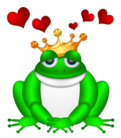 Cute Green Frog Prince with Crown Sitting Illustration Isolated on White Background with Flying Red Hearts illustration