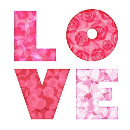 Liefde Alfabet Letters met wazig Bokeh Rose Circle Hearts patroon illustratie op een witte achtergrond Stockfoto