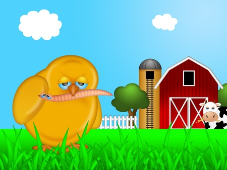 Chick Eating Worm on Farm with Red Barn and Silo with Cow Illustration illustration