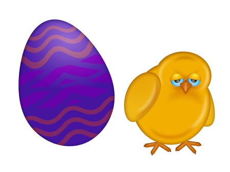 Happy Easter Day Chick Dye Painted Egg Isolated on White Background Illustration illustration