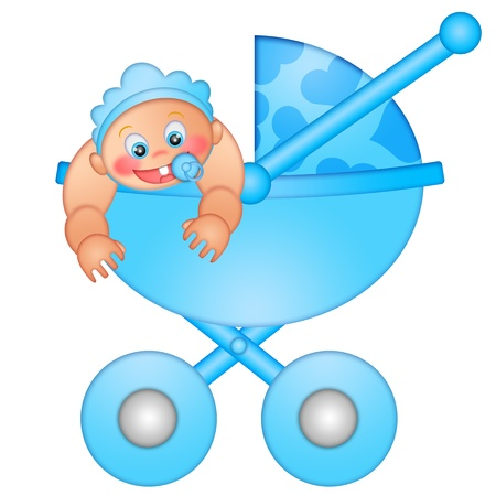 Baby Boy in Stroller Isolated on White Background Illustration Stock Photo