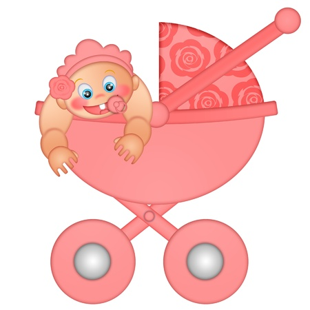 baby and mother: Baby Girl in Stroller Isolated on White Background Illustration Stock Photo
