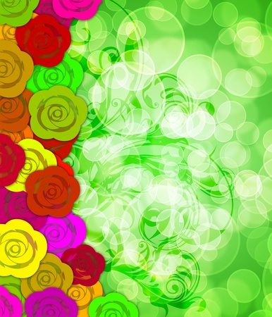 Colorful Roses Border with Floral Swirls and Blurred Bokeh Background Illustration