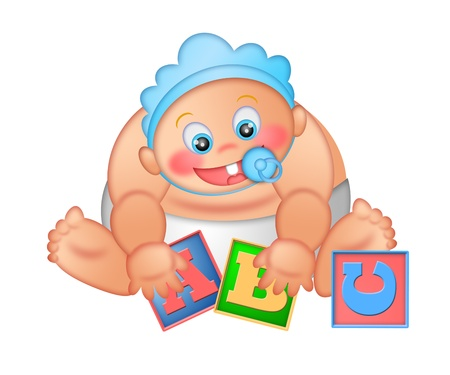 Baby Boy Playing With Alphabet Letter Blocks Isolated on White Background Illustration illustration