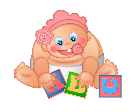 Baby Girl Playing With Alphabet Letter Blocks Isolated on White Background Illustration illustration