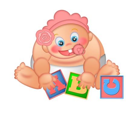 Baby Girl Playing With Alphabet Letter Blocks Isolated on White Background Illustration illustration
