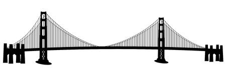San Francisco ゴールデン ゲート ブリッジの黒と白のクリップアート