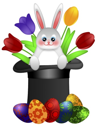 Easter Day Bunny Rabbit in Magician Hat with Painted Eggs and Colorful Tulips Illustration illustration