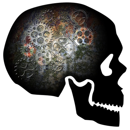 gears: Skull Silhouette with Rusty Gears Texture Isolated on White Background Illustration Stock Photo