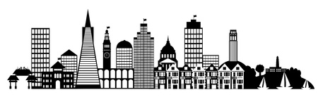chinatown: San Francisco City Skyline Panorama Black and White Silhouette Clip Art Illustration