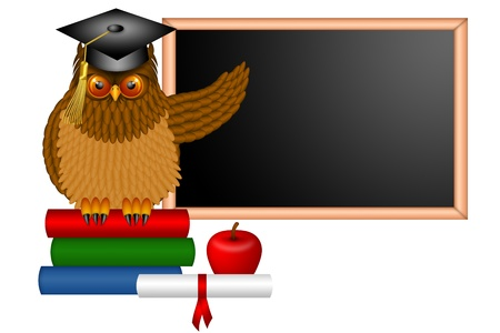 owl illustration: Wise Horned Owl Professor Sitting on Books with Chalkboard Apple Diploma and Books in Classroom Illustration Stock Photo