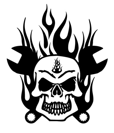 death metal: Bikers Skull Symbol with Mechanics Wrench and Flames Illustration