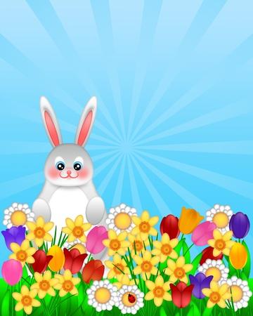 Easter Bunny Amongst Spring Flowers with Ladybug Illustration Isolated on White Background illustration