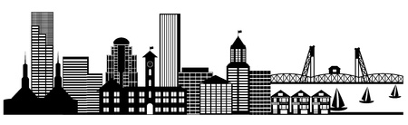 portland oregon: Portland City Skyline Oregon Panorama Black and White Silhouette Clip Art Illustration