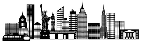 New York City Skyline Panorama Black and White Silhouette Clip Art Illustration