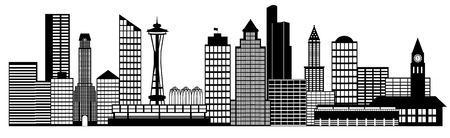 pacific northwest: Seattle City Washington Skyline Panorama Black and White Silhouette Clip Art Illustration