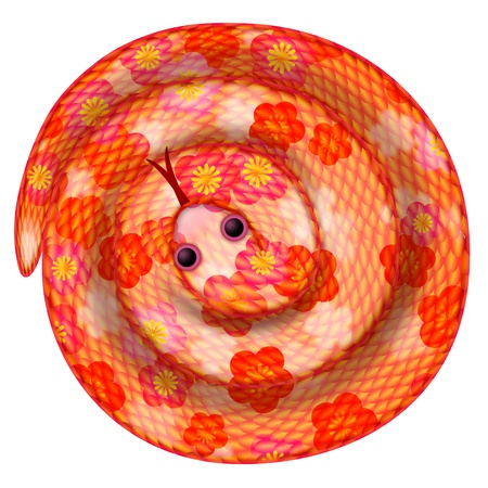 Coiled Chinese New Year Snake with Cherry Blossom Pattern Illustration Isolated on White Background illustration