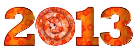 Chiński Nowy Rok Księżycowy of the Snake 2013 Ilustracja Pojedynczo na białym tle photo