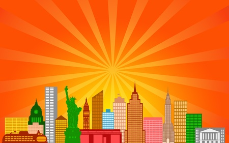 New York City Skyline Panorama Color Silhouette with Sun Rays Clip Art Illustration illustration