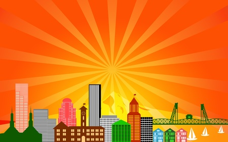 portland oregon: Portland City Oregon Skyline Panorama Color Silhouette with Sun Rays Clip Art Illustration Stock Photo