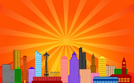Seattle Washington City Skyline Panorama Color Silhouette with Sun Rays Clip Art Illustration