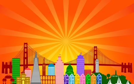 San Francisco California City Skyline Panorama Color Silhouette with Sun Rays Clip Art Illustration